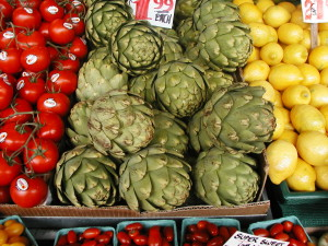 Fresh artichokes at a farmers market