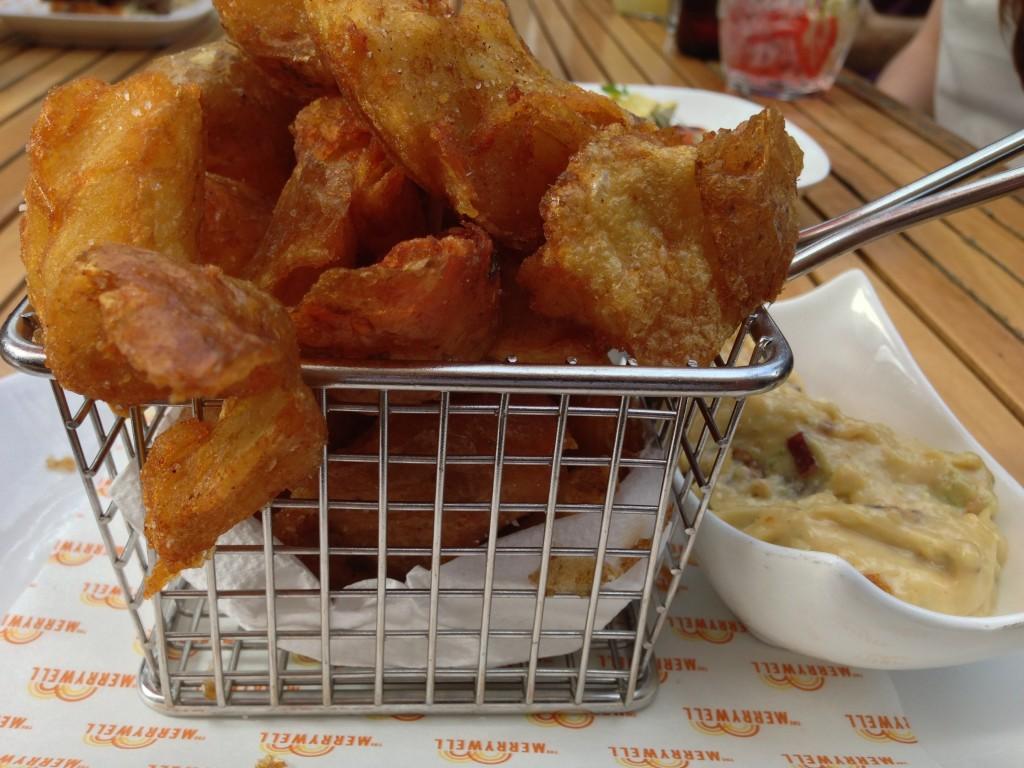 Crispy glasslike chips served with bacon aioli