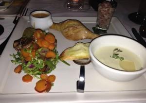 Tasting plate - Lobster bisque, tuna tartare, eggplant raviolo, salad, crusty bread