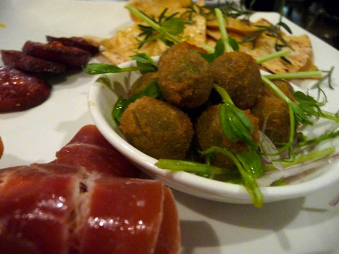 Deep fried olives, fried Italian sausage, cheese and capsicum wrapped in cured meat with garlic and rosemary flatbreads