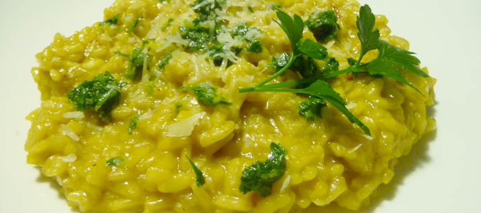 Risotto alla Milanese with gremolata, made from carneroli rice