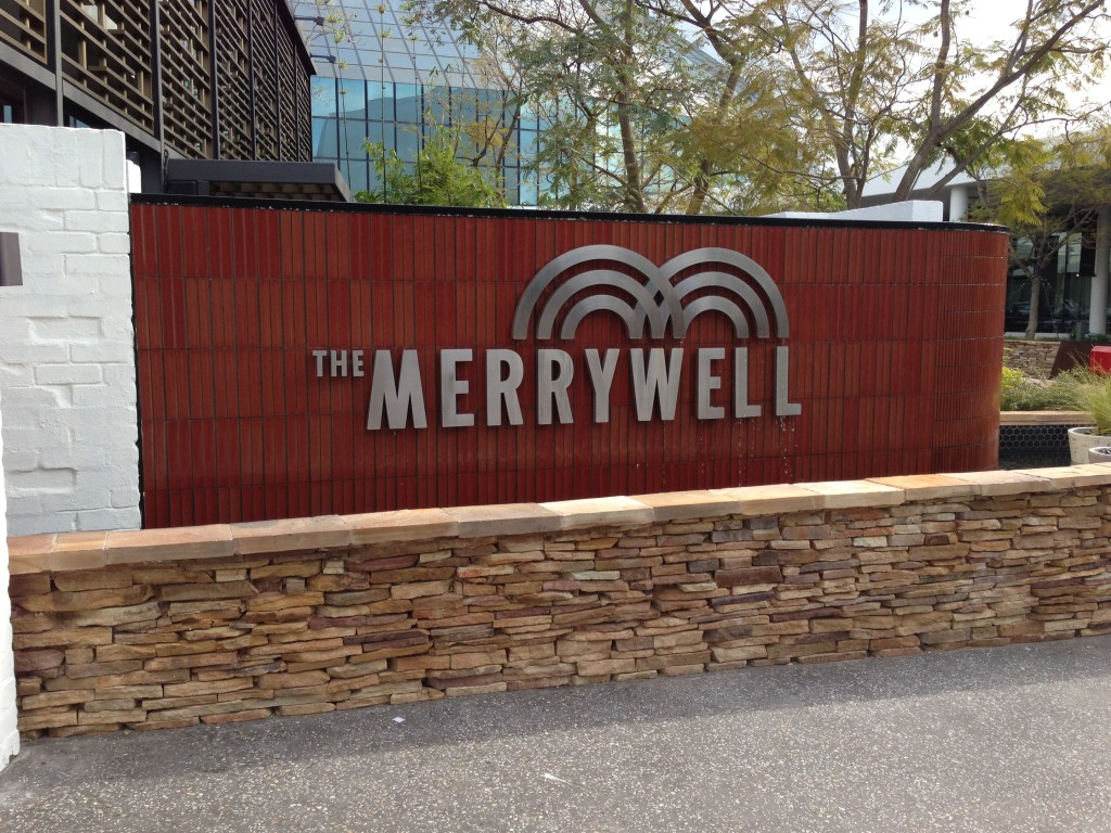 The water feature at the outside entrance to The Merrywell