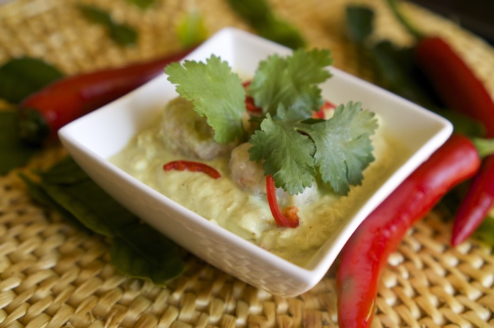 Thai Green Curry of Prawn Dumplings with Eggplant
