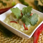 Green Curry of Prawn Dumplings with Eggplant