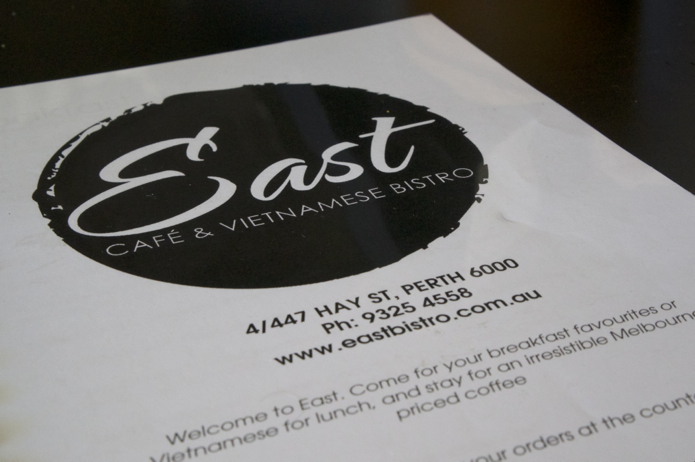 Menu at East Vietnamese Bistro