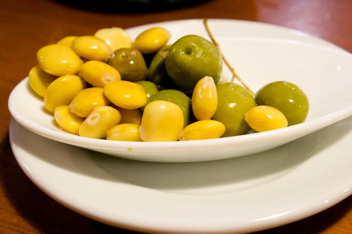 An appetiser of fava beans and olives