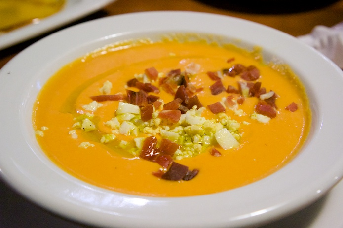Salmorejo (cold soup from Cordoba, made with tomatoes, bread, garlic and olive oil)