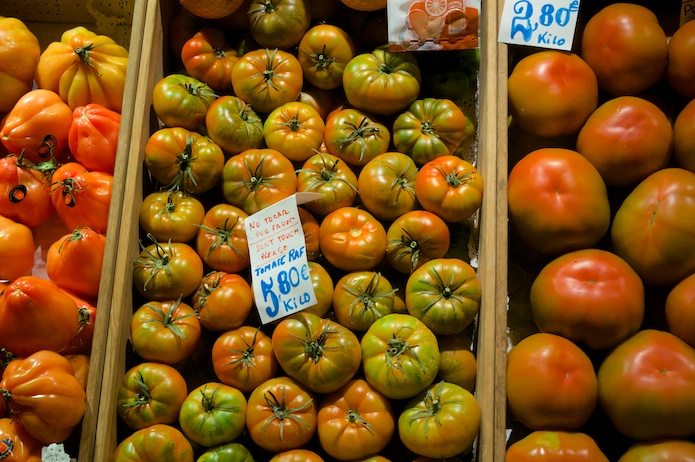 Fresh tomatoes on display