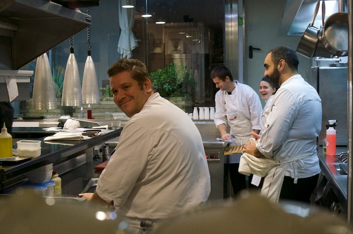 Victor and his team in the kitchen