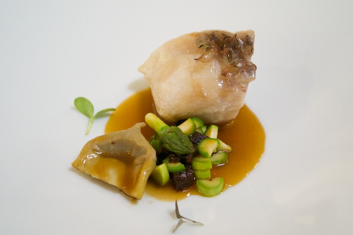 Snapper, artichoke, asparagus and black sausage