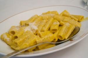 Rigatoni carbonara at Flavio al Velavevodetto in Testaccio. Notice how the pasta is not drowning in cream.