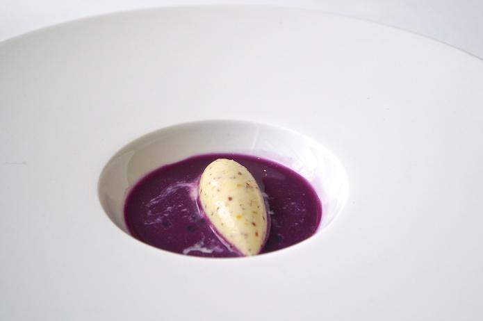 Pommery grain mustard ice cream with red cabbage gazpacho
