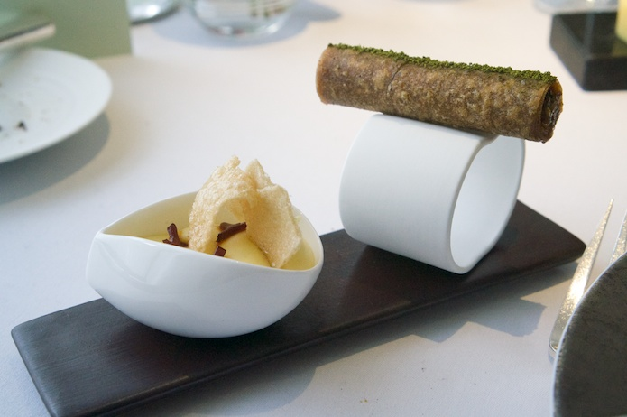 To accompany the duck: potato puree and a cigar of umbles
