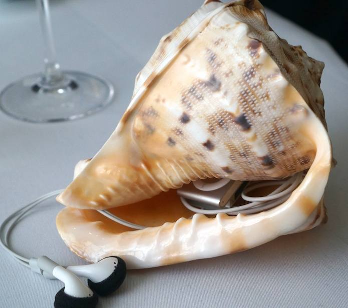 iPod in a conch playing sounds of the sea