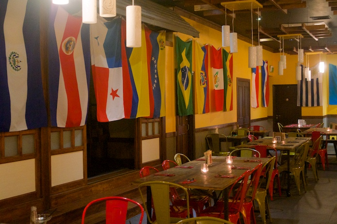 El Salvador, Costa Rica, Panama and Colombia...the interior of Big El's is lined with the flags of Latin America