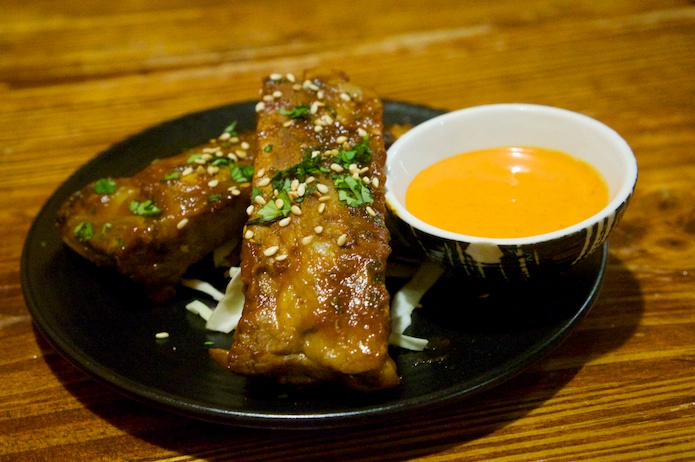 Kelly's Rack - Chipotle glazed female baby back pork ribs served with chipotle mayonnaise
