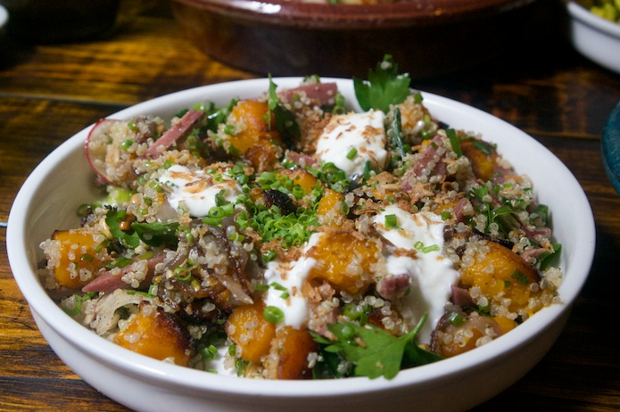 Roasted pumpkin, poached quince, goats curd, quinoa