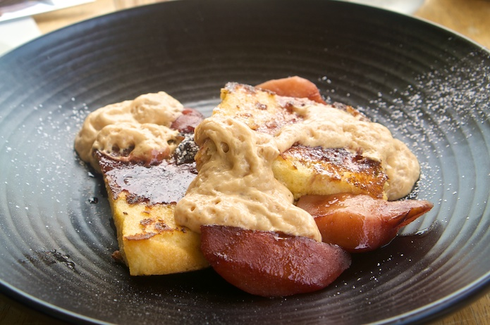 French toast with caramelised milk espuma, red wine poached quince and toasted almonds