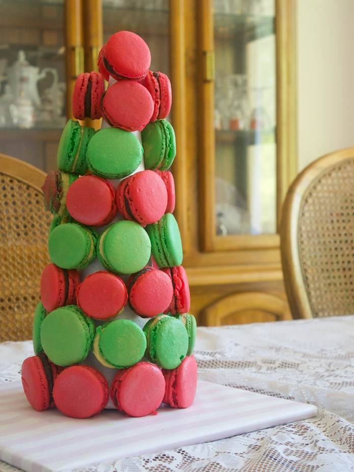 My edible Christmas tree, actually standing and not looking too bad. Not perfect, but not too bad.
