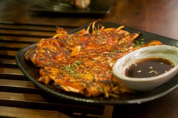 Kimchi Jijimi - pancake served with chili soy sauce