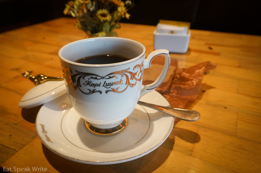 Civet coffee from Le Maison Kopi Luwak in the Plaza Indonesia mall